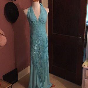 Dresses & Skirts - Mermaid Blue Halter Tie formalJumpsuit